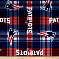 NFL New England Patriots Plaid Fleece Red/Blue Fabric By The Yard