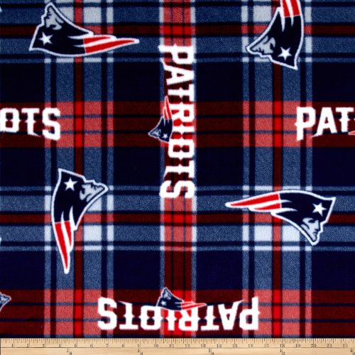 NFL New England Patriots Plaid Fleece Red/Blue Fabric By The Yard (Plaid Fleece Comforter)