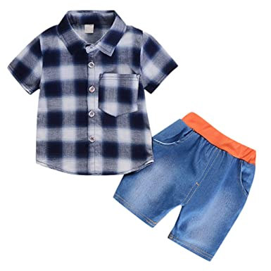 Mother & Kids Kids Baby Boys Clothes Sets Bodysuit Jumpsuit Long Sleeve Plaid Tops Jeans Pants Outfits Baby Boy Clothing Set 2pcs