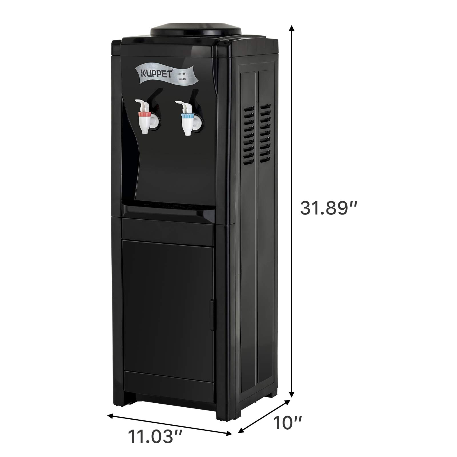 KUPPET Water Cooler Dispenser-Top Loading Freestanding Water Dispenser with Storage Cabinet, 5 Gallon, Two Temperature Settings-Hot(185℉-203℉), Normal Temperature(50℉-59℉), BLACK(32'', Black) by KUPPET (Image #9)