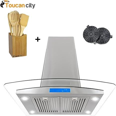 Cosmo Ductless Island - Juego de campana de acero inoxidable con iluminación LED y filtro de carbono para recirculación 668ICS750-DL y Toucan City (bambú, 7 piezas): Amazon.es: Grandes electrodomésticos
