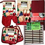 Kitchen Linen Set - Matching Kitchen Towel, Oven Mitt, Pot Holders,Dish Drying Mat and Bonus Bamboo Trivet Hot Pads (Wine Glasses)