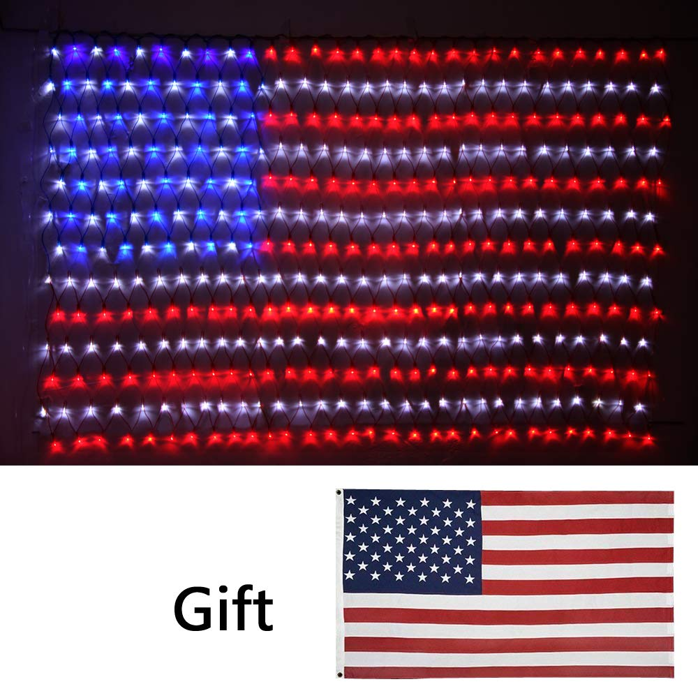 Led Flag Net Lights of The United States, Super Bright LED Waterproof American Flag Light for Independence Day, Memorial Day, Garden, Indoor and Outdoor+Gift: American Flag by Fun lele