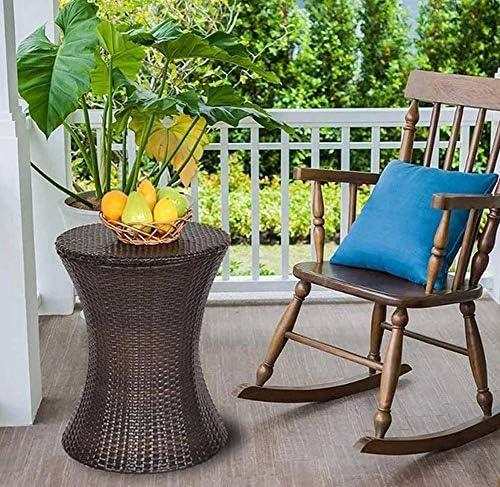 YLEI Outdoor Rattan Eiskübel, Doppelwand-Isolierung Eiswürfelbehälter, Outdoor Patio Cooler Tisch Für Biere Cocktails Weine Getränke Milch, schwarz