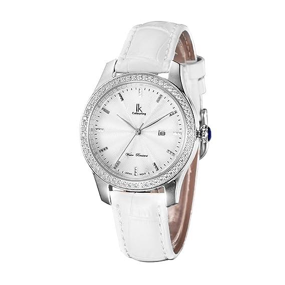 d.b. Estado de Ánimo Mujer Diamond Quartz Reloj De Muñeca Color Plateado y Blanco: Amazon.es: Relojes