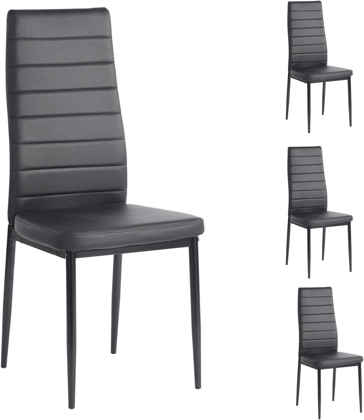 HouseInBox Leather Dining Chairs, Modern PU Side Chair with Metal Feet Back Support, for Dining Room Set of 4 (Black)