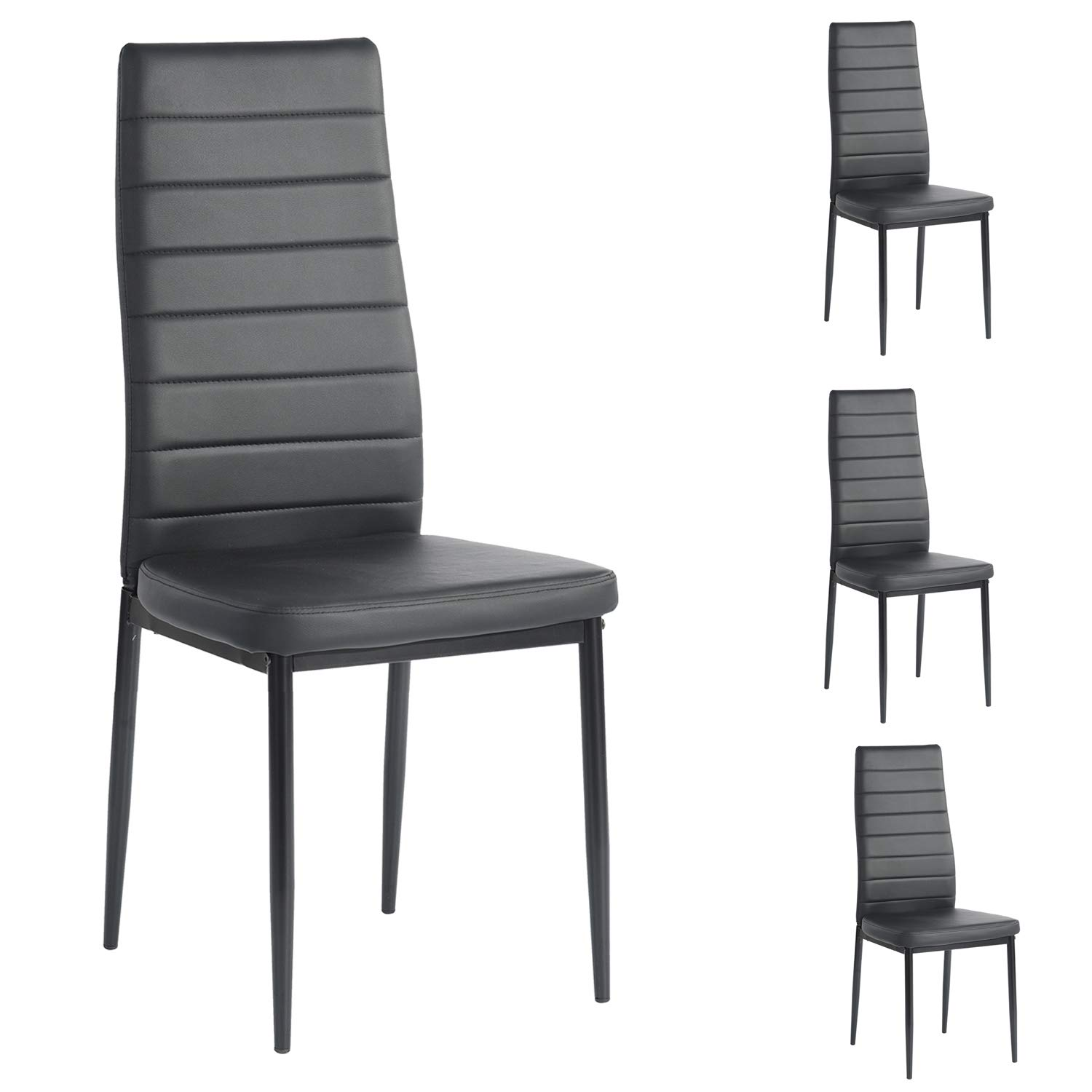 CDM product Ihouse Set of 4 Dining Side Chairs Fabric Cushion Kitchen Chairs with Sturdy Metal Legs for Dining Room, Living Room big image