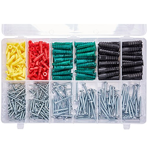 T.K.Excellent Phillips Pan Head Self Tapping Screws and Ribbed Anchors Assortment Screws Kit,400Pcs by T.K.Excellent