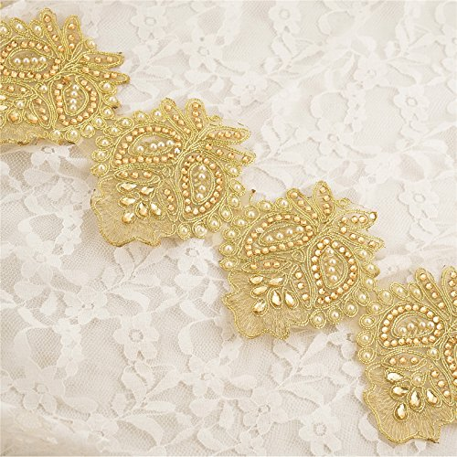 (BridalMary Indian Hand Beaded Bridal Border 1 YD Trim Ribbon Golden BridalMary Sewing Lace)