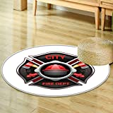Print Area rug city fire department organization realistic logo emblem design with crossed axe Perfect for any Room, Floor Carpet -Round 35''