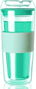 Cicike Glass Tumbler with Silicone Sleeve, Iced Coffee Cup, Glass Cup, Double Walled Glass Coffee Mug, Reusable Cup for Hot & Cold Beverages, 14oz. Capacity, All Made of Glass Including the Lid
