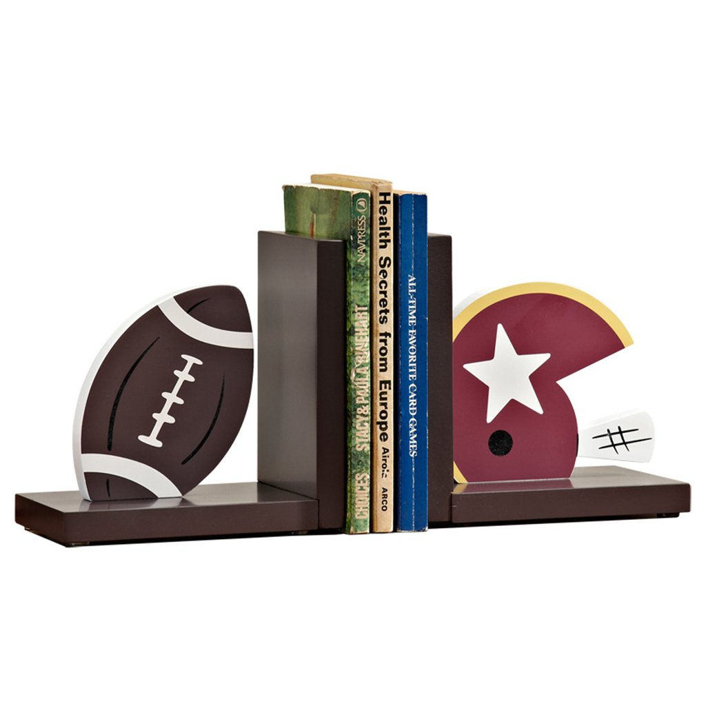 Bookends bookshelf office bookcase bookends Boys Room Desktop wooden bookends (Color : Brown)