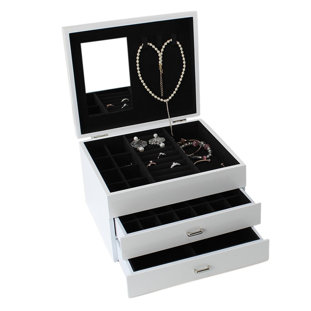 XMAKER Three-Layer Lint Jewelry Organizer Box Storage Display Case, Bracelet Necklace Ring Earring Showcase Box with Mirror