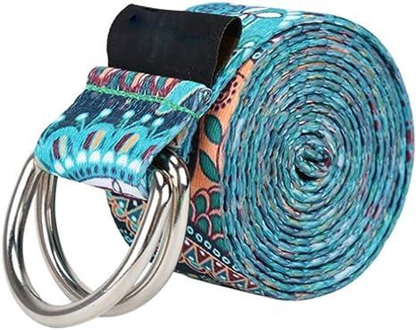 RXRENXIA Correa de yoga-100% algodón-Correa de Yoga para Estirar-cinturón de Yoga para Principiantes y confirmado yogis-Yoga Correa con Cierre de Metal: Amazon.es: Deportes y aire libre