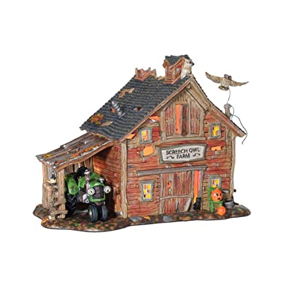 department 56 snow village halloween screech owl farm lit building