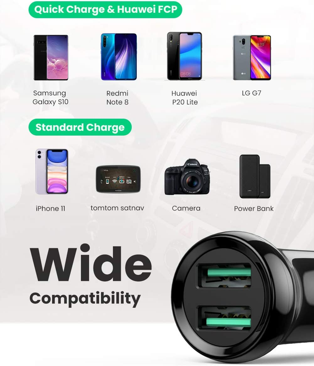 LG iPad Pro//Air 2//Mini 24W Dual USB QC3.0 Port Mini Fast Car Charger Compatible with iPhone SE//XS//MAX//XR//X//8//7//6//Plus Galaxy S10 S9 S8 S7 S6 Note Nexus etc. UGREEN Car Charger Adapter