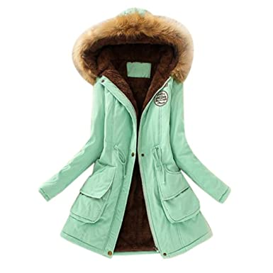 e8fa756c251 Hunputa Women s Parka Down Jacket Military Hooded Warm Winter Faux Fur  Lined Parkas Anroaks Long Coats