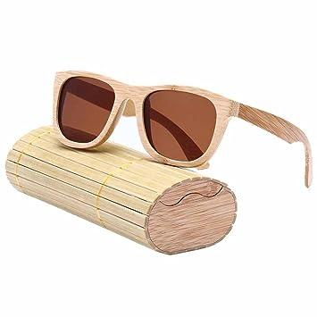 AOLVO - Gafas de Sol de bambú, polarizadas, 100% protección UV400, para Hombre y Mujer con Caja de Almacenamiento