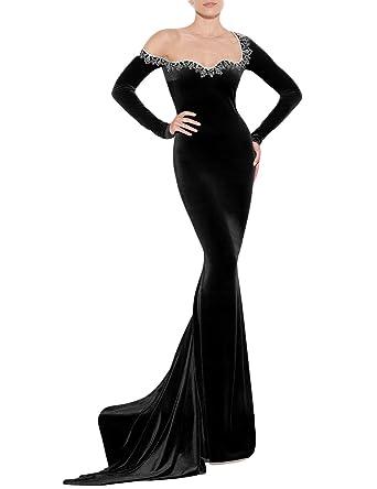 3cb89b300d4b YSMei Women s Round Neck Wedding Celebrity Dresses Long Mermaid Formal  Gowns Party Black 2