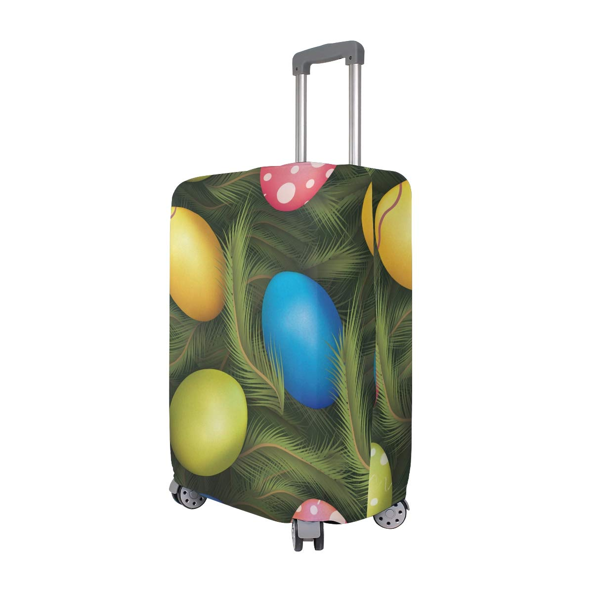 Baggage Covers Happy Easter Eggs Colorful Green Leaves Washable Protective Case
