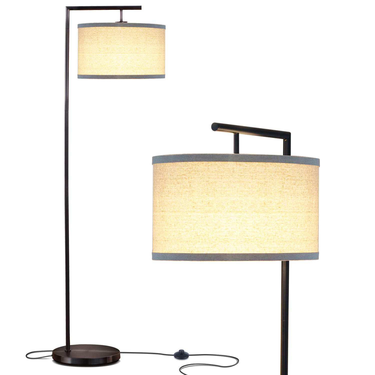 Brightech Montage Modern LED Floor Lamp - Living Room Light - Standing Pole with Hanging Drum Shade - Tall Downlight for Bedrooms, Family Rooms, Offices – Black