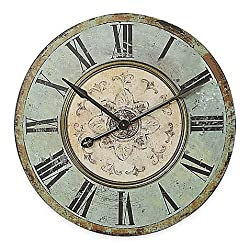 Wall Clock Made of Wood With Large Roman Numerals in Blue/Green
