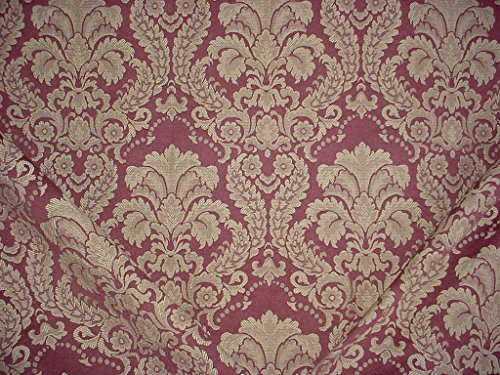 Upholstery Fabric Plum (22RT6 - Plum / Parlor Taupe Victorian Grand Lotus Floral Scroll Damask Jacquard To the Trade Designer Upholstery Drapery Fabric - By the Yard)