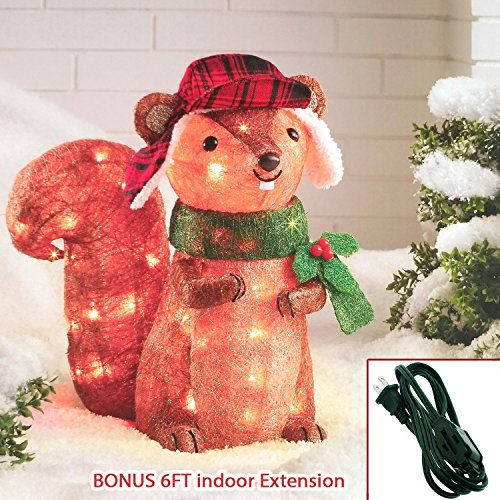 Christmas Sisal Squirrel Holiday Lighted 35 LEDs - 18'' Tall Outdoor Decorations + Extra BONUS Greenbrier 6FT Indoor Extension Cord by WonderDeco