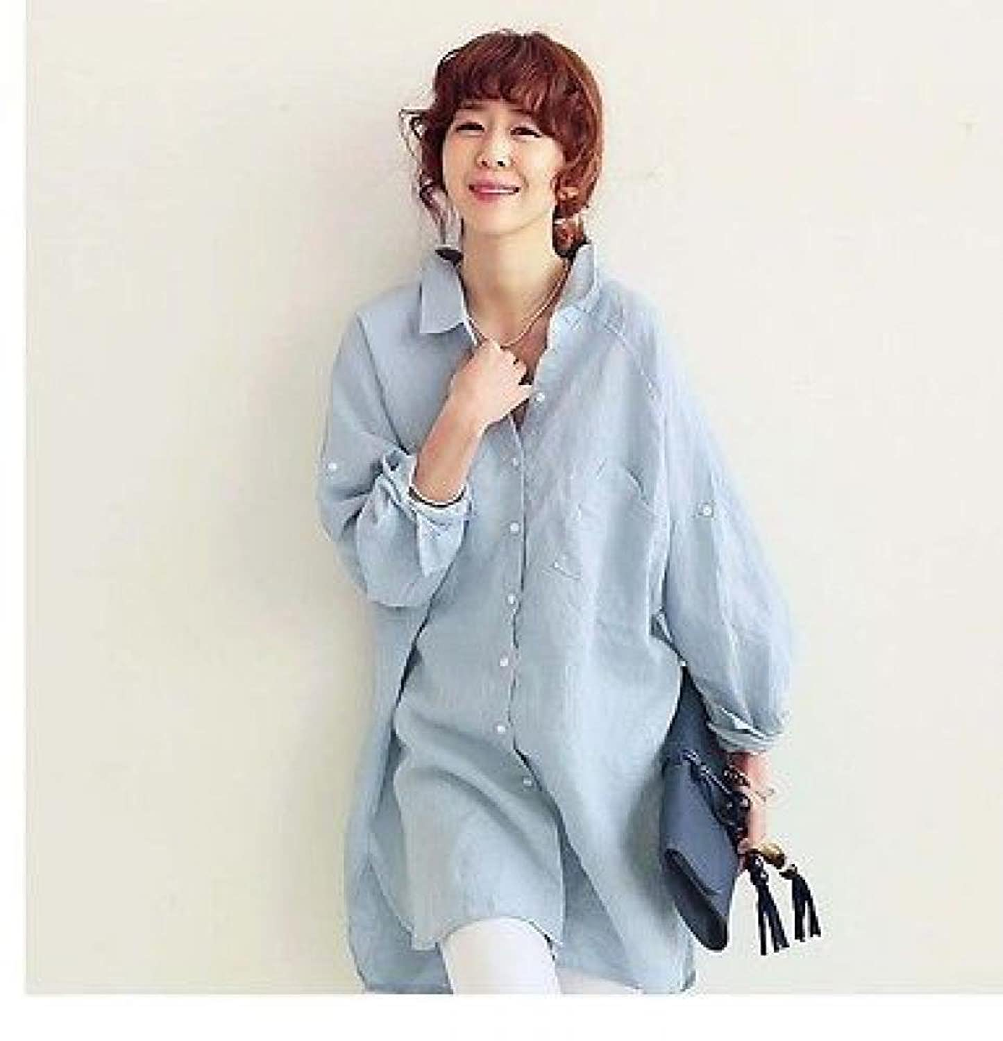 Womens Stand Collar Big Loose Casual Cotton Shirt Button Down ...