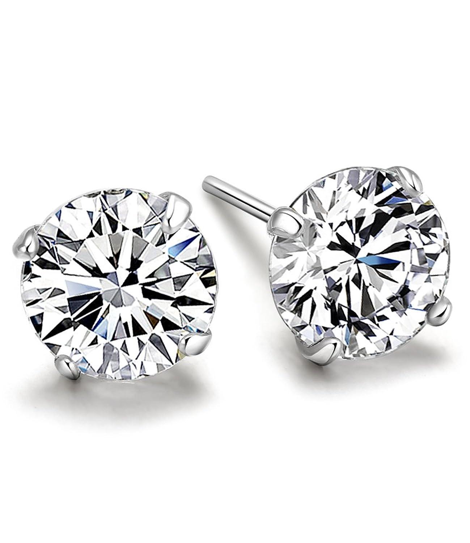 Celebrity Jewellery 925 Sterling Silver Earrings 6MM Cubic Zircon