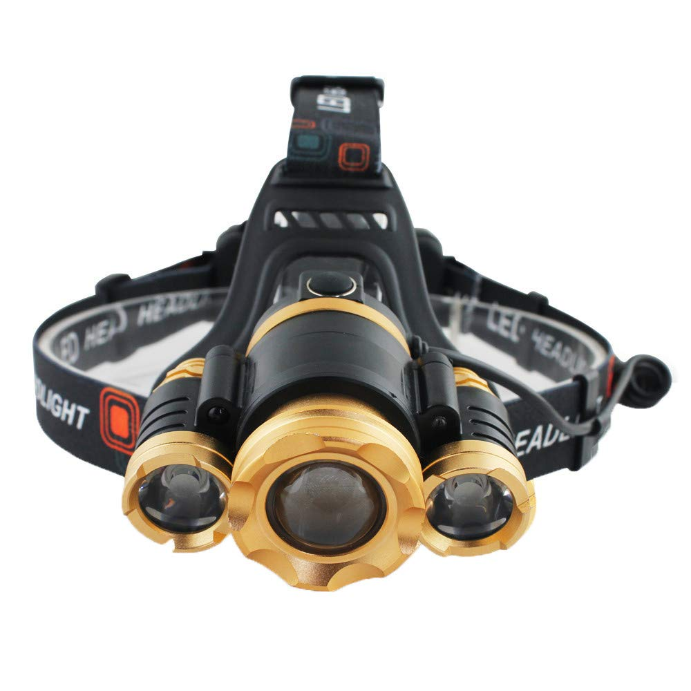 Vacio USB Rechargeable Headlamp Flashlight Light, Zoomable LED Headlamp with 4 Lighting Models Waterproof Headlamp Flashlight Light, Such as Hunting, Cycling, Working, Fishing, Camping Headlight by Vacio (Image #1)