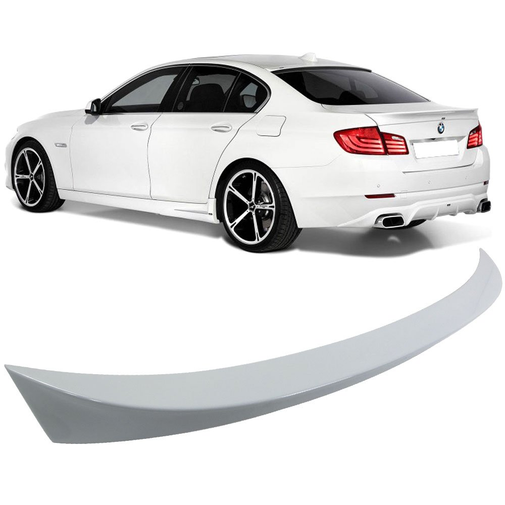 Pre-Painted Trunk Spoiler Fits 2011-2016 BMW 5 Series F10 | AC Style #A90 Dark Graphite Metallic ABS Rear Tail Lip Deck Boot Wing Other Color Available By IKON MOTORSPORTS | 2012 2013 2014 2015