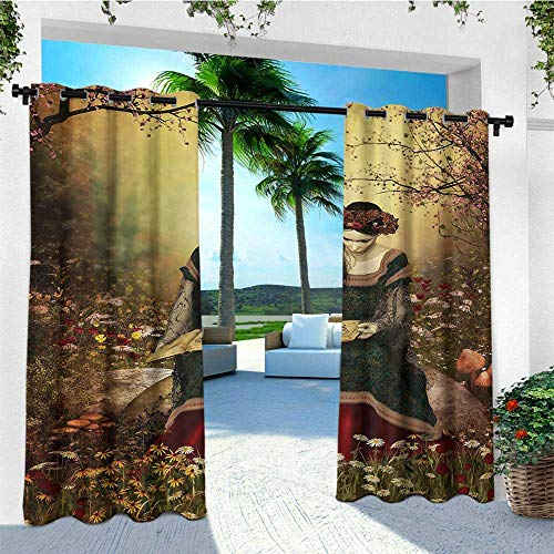 - leinuoyi Medieval, Outdoor Curtain Panels Set of 2, Lady Sitting on Stone and Reading Book Forest Flowers Grass Trees Medieval Time, Set for Patio Waterproof W96 x L96 Inch Multicolor