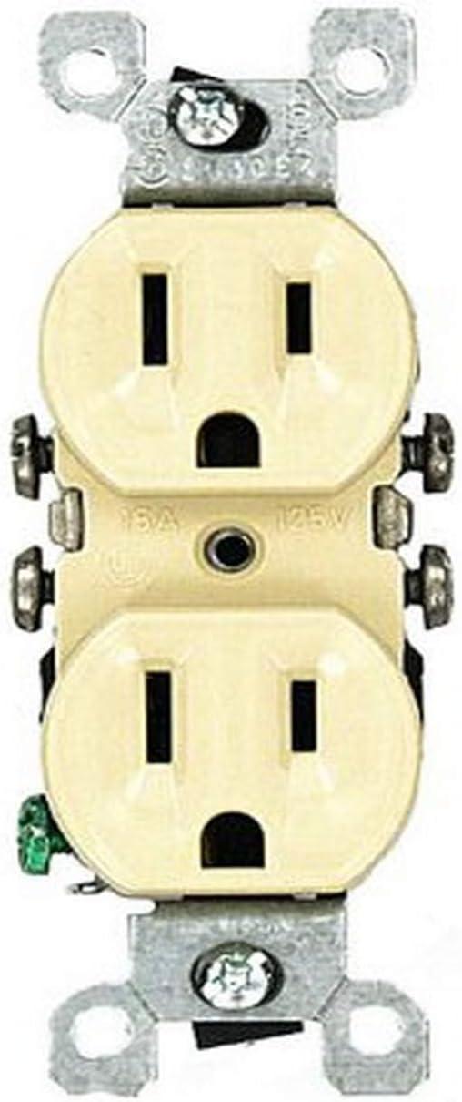 Leviton 12650-I 15 Amp, 125V, Co/ALR Duplex Receptacle, Straight Blade, Residential Grade, Grounding, 10-Pack, Ivory