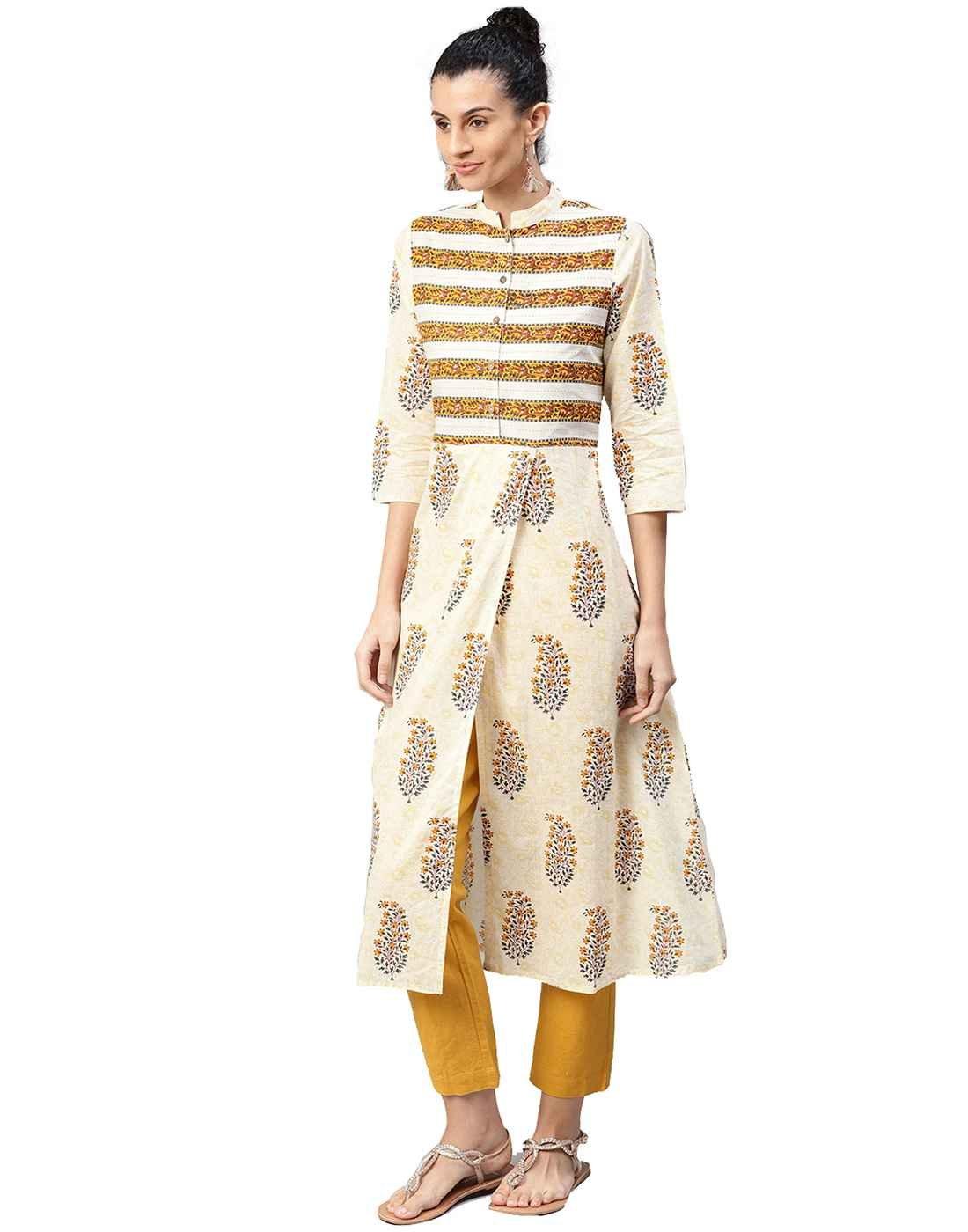 Jaipur Kurti Women Indian Casual Ethnic Motifs Tunic Top A-Line Cotton Kurta (Cream)