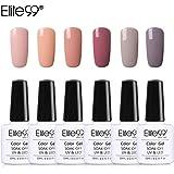 Elite99 Gel Nail Polish Set Soak Off UV LED Nail Lacquers Manicure Nail Art Decoration 10ML (C002-6pcs)