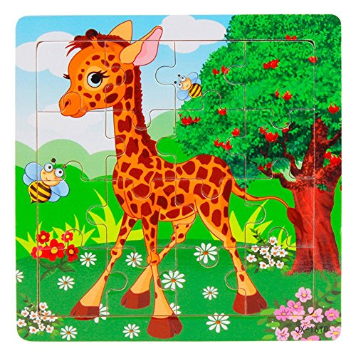 """CGKUITER Wooden Kids 16 Piece Jigsaw Toys Education and Learning Puzzles Toys(5.8""""x5.8"""")"""