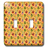 3dRose Anne Marie Baugh - Patterns - Cute Pink, Green, and Red Mexican Guitars On Orange Pattern - Light Switch Covers - double toggle switch (lsp_295471_2)
