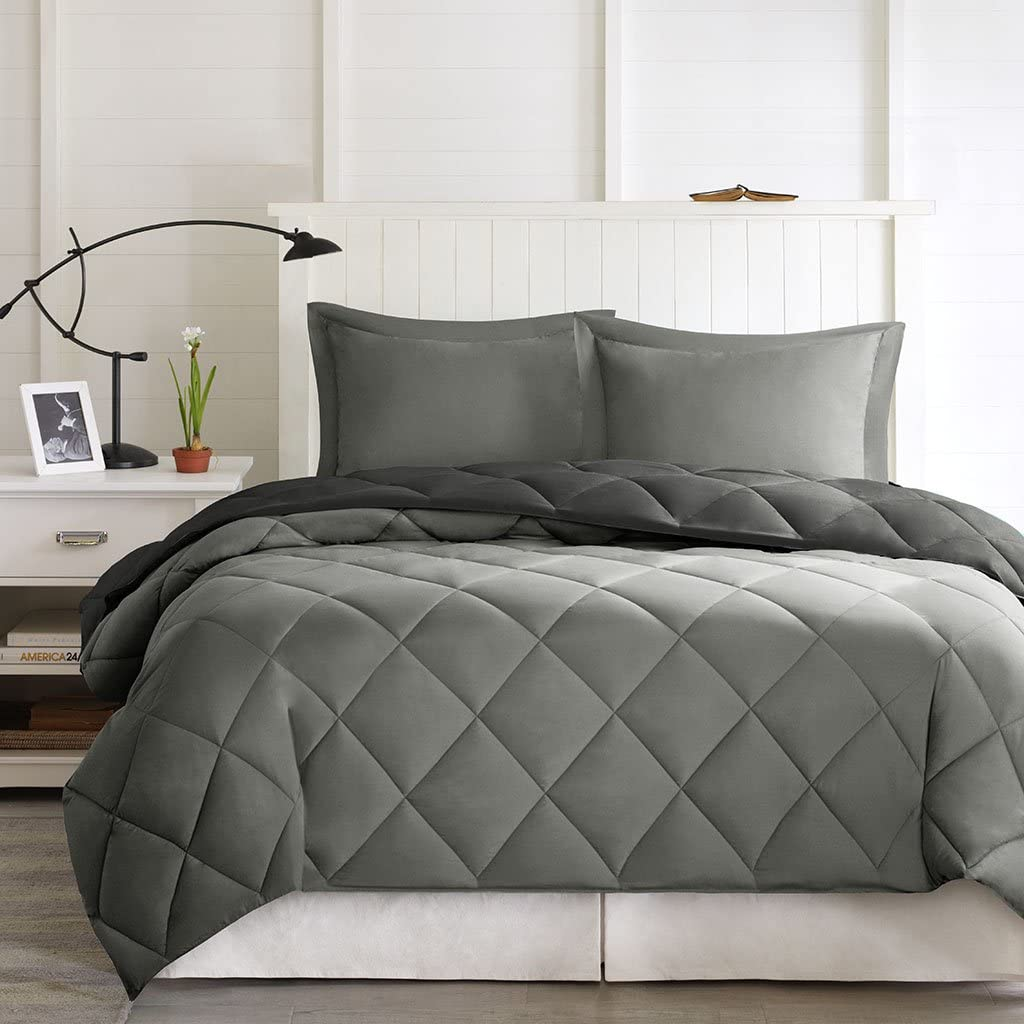 Madison Park Larkspur Comforter Set, Black/Gray, King