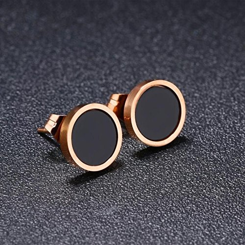 wattana 18K Rose Gold Black Enamel Round Ear Studs Women Titanium Steel Wedding Earrings Wat by wattana (Image #2)