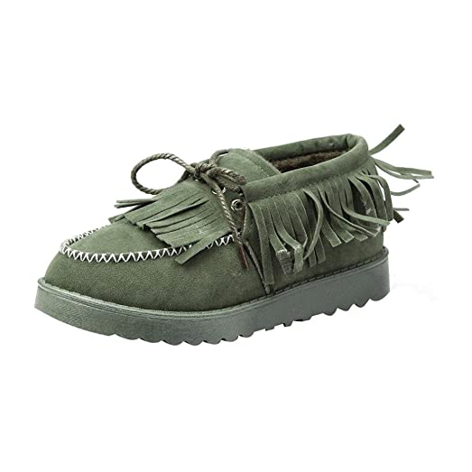 Women Tassel Boots Flat Ankle Fur Lined Winter Warm Snow Shoes Lazy Shoes (US 5.5 Green)