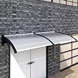 LicongUS Door Canopy 118'' x 39'' Door Canopy Canopy Material: Polycarbonate sheets + ABS brackets + aluminum strips