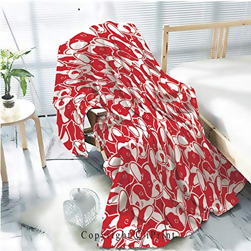 Printed Throw Blanket Smooth and Soft Blanket,Dog head french bulldog puppy face doodle vector seamless pattern isolated wallpaper background red For Sofa Chair Bed Office Travelling Camping,Kid Bab