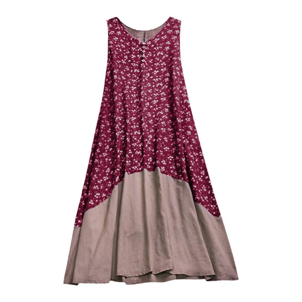 Snowfoller Women's Sleeveless Cotton Linen Tank Dress Summer V-Neck Button Decor Floral Printed Patchwork Dress