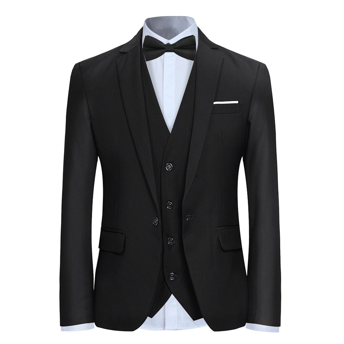 Allthemen 3 Piece Slim Fit Suit Wedding Dress Casual One Button Lounge Suit Black