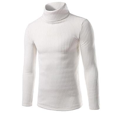 FEITONG Pull Veste en Maille - Homme (M, blanc)