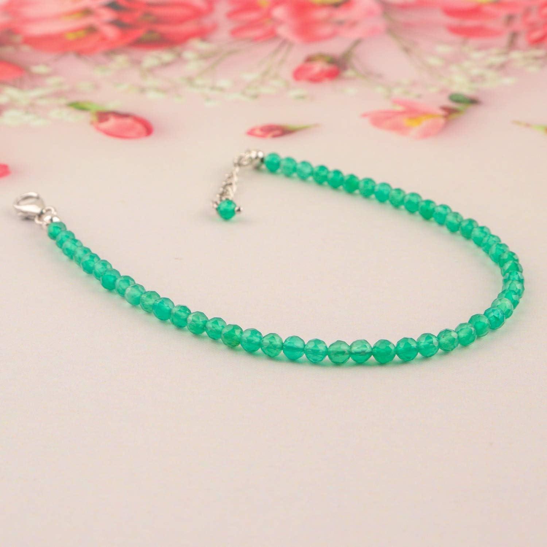 InfinityGemsArt pulsera pulgadas 8 laminado con rodio 925 cristales de plata de ley natural de cuarzo verde cristales gotea la pulsera hecha a mano joyería de curación de las mujeres del regalo