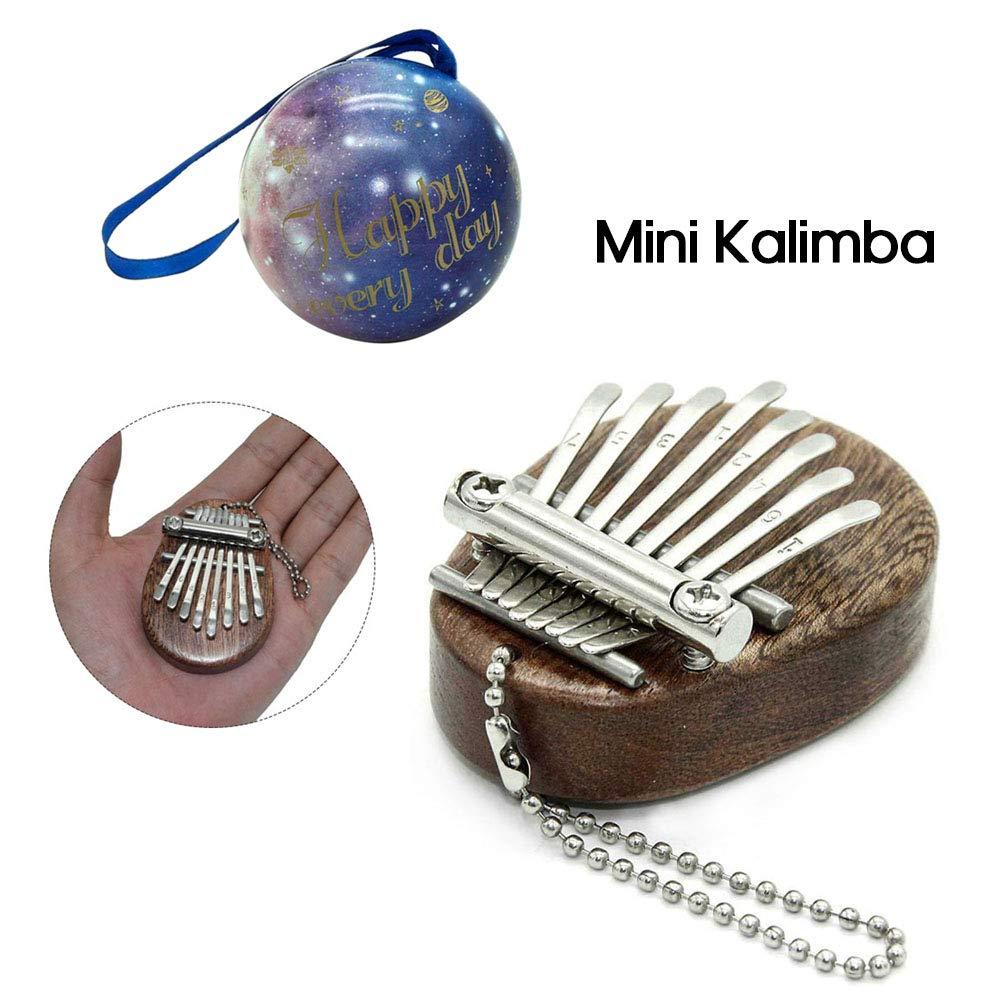 JJmooer 8 cl/és Kalimba Mini Portable Pouce Piano Doigt Percussion Clavier Poche Instrument De Musique Pendentif Cadeau De No/ël