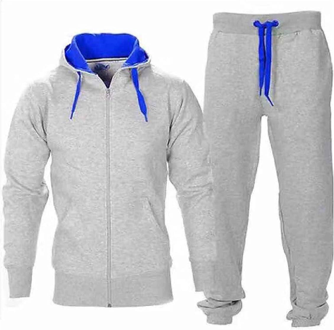 HEFASDM Mens Cardigan Hip Hop 2 Piece Set Hoodie and Pants Suit Set with Hood