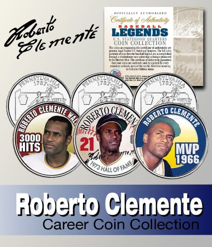 Baseball Legend ROBERTO CLEMENTE Statehood Quarter Colorized 3-Coin Set LICENSED by Merrick Mint